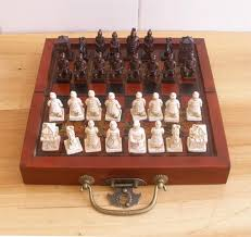 Board Games In Wooden Box Collectibles China Chinese Army Style Chess Set Leather Wood Box 83