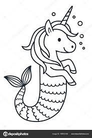 Schattig Unicorn Zeemeermin Vector Kleurplaat Pagina Cartoon
