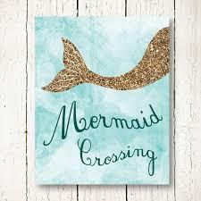 shining mermaid wall art interior design ideas printable gold glitter poster light blue decor ocean nursery