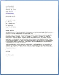 Stunning Business Job Letter Sample About Business Analyst Cover