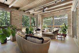 furniture for sunroom. Sunroom Furniture Ideas With Round Rattan Wicker Sofas Side Table Under Ceiling Fan An Wooden Exposed Beam For