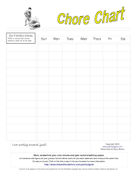 Make Your Own Responsibility Chart Blank Chore Chart For Kids Templates At
