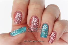 Aqua and Pink Glitter nails with Konad stamping | FUNKY FINGERS ...