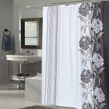 beautiful black and white flower motif extra long fabric shower curtain 70 x 84