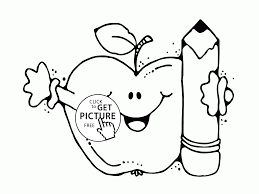 Small Picture Funny Apple with Pencil coloring page for kids back to school