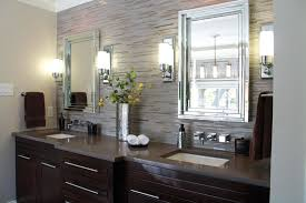 modern bathroom lighting luxury design. Modern Stainless Bathroom Wall Sconces Combined With Luxury Large Mirror And Wooden Storage Create Harmonious Sombination For Lighting Design I