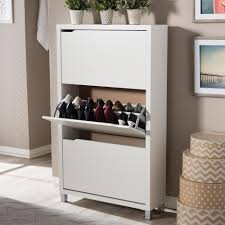 Shoe Cabinet with Doors White