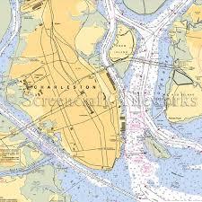 Charleston Nautical Chart South Carolina Charleston Nautical Chart Decor