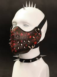 black faux leather mask with blood pattern and picks cyber goth punk rock