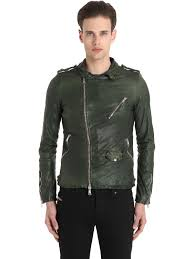 giorgio brato washed smooth nappa biker jacket forest green men clothing worldwide 100