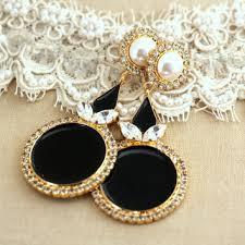black gold pearls chandelier earrings rhinestone chandeliers s