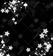 黒の背景に花柄のテンプレート