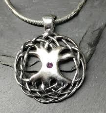 amethyst natural gemstone celtic tree of life sterling silver pendant