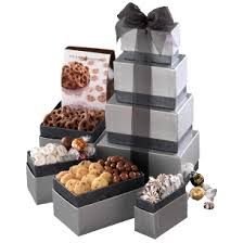 this upscale corporate gift tower includes an ortment of high end gourmet treats