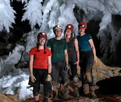 katey bender and george breley dr johanna kovarik and hazel barton in the chandelier ballroom during a research expedition in lechuguilla cave