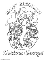 Curious Georges Happy Birthday Coloring Sheet Teachervision