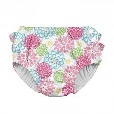 Iplay Ruffle Snap Reusable Swim Diaper White Zinnia