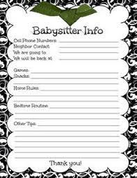 babysitter information sheet printable babysitters info digi freebies pinterest badges babysitting