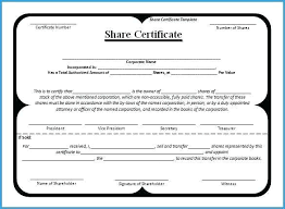 Corporate Stock Certificates Template Free Admirably