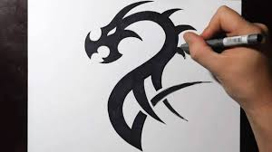 Easy Dragon Designs How To Draw A Simple Tribal Dragon Tattoo Design