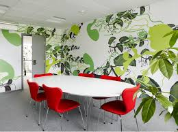 modern colorful furniture. Business Conference Room : Modern Colorful Designs With Flower Motif Wall And Red Chairs Furniture