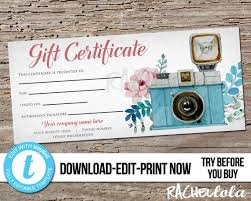 Custom Gift Certificate Templates Free Editable Printable Photography Gift Certificate Template Photo Session Voucher Custom Gift Card Digital Download Templett Floral Camera