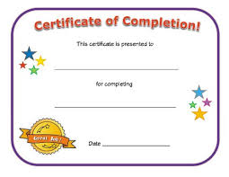 certificates of completion for kids certificate of completion work pinterest certificate blank