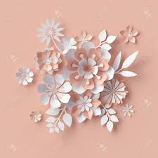 Paper Flower Background 3d Render Abstract Paper Flowers Decorative Peach Floral Background