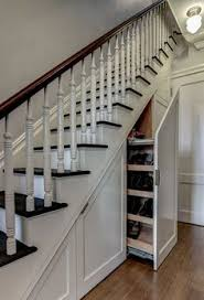 Traditional Staircase With Under Stairs Storage Solutions With Hidden  Storage Concept Also Classic Stair Railings Design With Brown Laminate  Floor Also ...