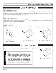lighting burner pilo t millivolt operating instructions monessen hearth direct vent gas fireplace cdvr36 user manual page 37 52