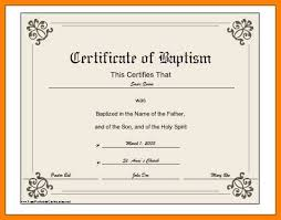 Sample Baptism Certificate Template