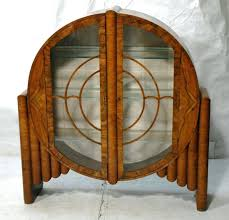 Art Deco Bar Cabinet Burled Wood Round Fonkindinfo
