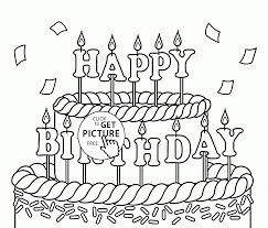 Big Cake Happy Birthday Coloring Page For Kids Holiday Coloring
