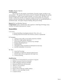 Machine Operator Job Description For Resume Machine Operator Resume 100 Sample Objectives For Production 8