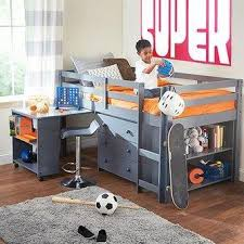 kids loft bed with desk. Caden Grey Kid\u0027s Furniture Set With Twin Loft Bed, Desk, Dresser \u0026 Bookcase In One Kids Bed Desk