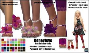 Genevieve sandals for girls by SamanthaGump at Sims 4 Nexus » Sims 4 Updates