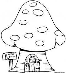 Small Picture Print out Easter Bunny Mushrooms House Coloring Page for kids