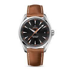 omega seamaster aqua terra black orange dial leather strap watch