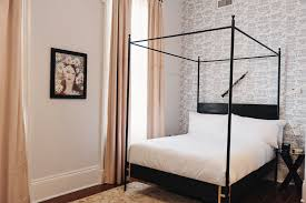 The Josephine Bed four poster king or queen black metal canopy