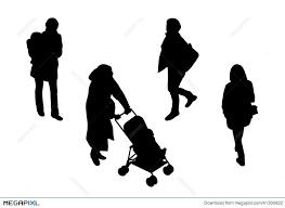 People Walking Top View Silhouettes Set 3 Illustration 41300922