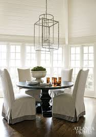 breakfast room decorating with lantern round table linen slipcovers