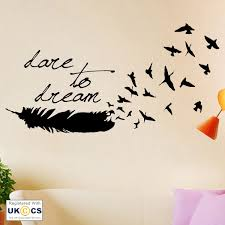 dare dream feather bedroom hall living room nature wall art stickers decals viny ebay on dream wall art uk with dare dream feather bedroom hall living room nature wall art stickers