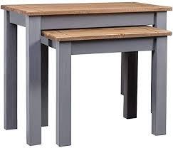 FAMIROSA <b>Nesting Tables 2 pcs</b> Grey Solid Pine Wood Panama ...