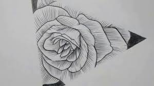 Drawing A Triangle Rose For Tattoo Art Speed Drawing