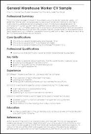 Warehouse Job Resume Skills Example Of Worker Sample Resumes For