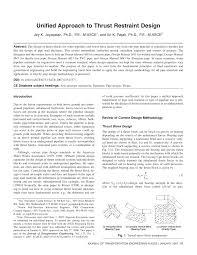 Thrust Restraint Design For Ductile Iron Pipe Pdf Unified Approach To Thrust Restraint Design