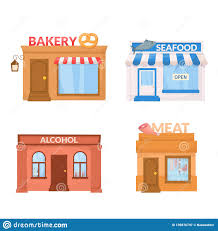 Market Storefront Bakery Sea Food Alcohol Meat Store Building