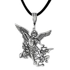 antique style saint michael archangel fighting a demon in sterling silver loading zoom
