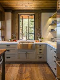 Mid-sized rustic kitchen ideas - Mid-sized mountain style l-shaped medium
