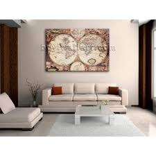 World Map Home Decor Extra Large Wall Art Print On Canvas World Map Retro Global Atlas